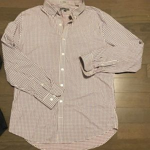 Fitted checked button down